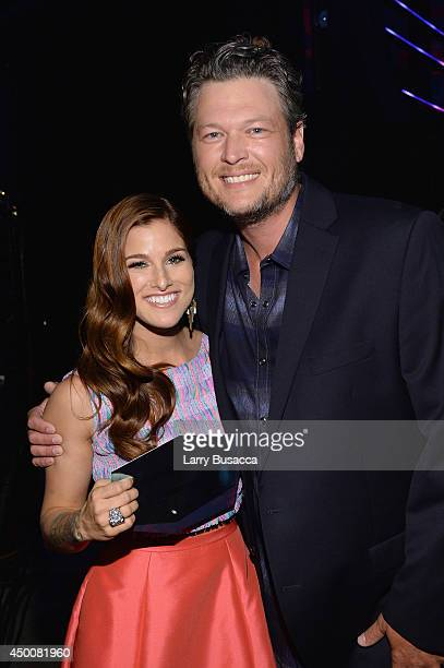 Cassadee Pope and Blake Shelton attend the 2014 CMT Music awards at the Bridgestone Arena on June 4 2014 in Nashville Tennessee