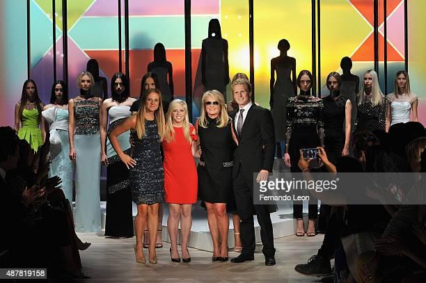 Cassandra DeVos Sydney DeVos designer Pamella Roland and Cole DeVos walk the runway at the Pamella Roland Spring 2016 fashion show at The Whitney...