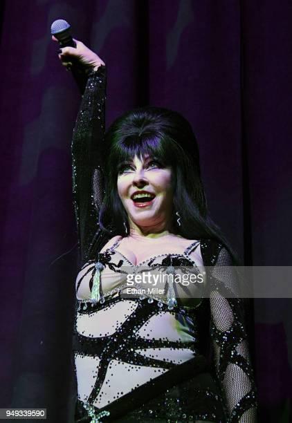 "Cassandra ""Elvira, Mistress of the Dark"" Peterson performs as she hosts the Viva Las Vegas Rockabilly Weekend's Burlesque Showcase at the Orleans..."