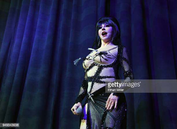 Cassandra Elvira Mistress of the Dark Peterson performs as she hosts the Viva Las Vegas Rockabilly Weekend's Burlesque Showcase at the Orleans Arena...