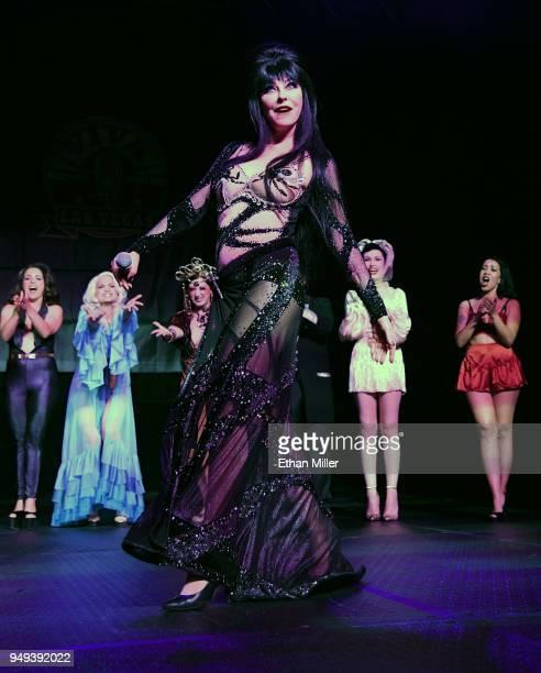Cassandra Elvira Mistress of the Dark Peterson takes a curtain call as she hosts the Viva Las Vegas Rockabilly Weekend's Burlesque Showcase at the...