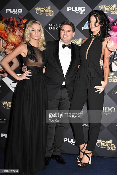 Cassandra Foret Jeremy Urbain and Jade Lagardere attend the 'Top Model Belgium 2017' Ceremony at Le Lido on December 18 2016 in Paris France