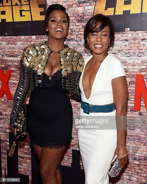 Cassandra Freeman and Karen Pittman attend the Luke Cage New York Premiere at AMC Magic Johnson Harlem on September 28 2016 in New York City
