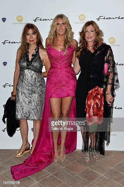 Cassandra Gaviola Tiziana Rocca and Kelly Lebrock attend at the Lancia Cafe during the 58th Taormina Film Fest on June 27 2012 in Taormina Italy