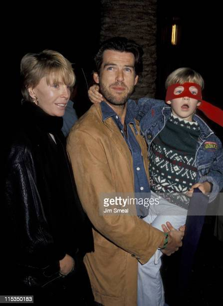 "Cassandra Harris, Pierce Brosnan, and son Sean during Premiere of ""Teenage Mutant Ninja Turtles"" at Universal Ampitheater in Universal City,..."