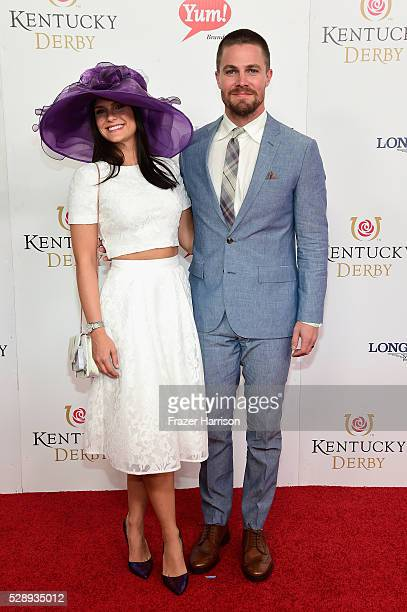 Cassandra Jean and actor Stephen Amell attend the 142nd Kentucky Derby at Churchill Downs on May 07, 2016 in Louisville, Kentucky.