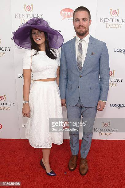 Cassandra Jean and actor Stephen Amell attend the 142nd Kentucky Derby at Churchill Downs on May 07 2016 in Louisville Kentucky