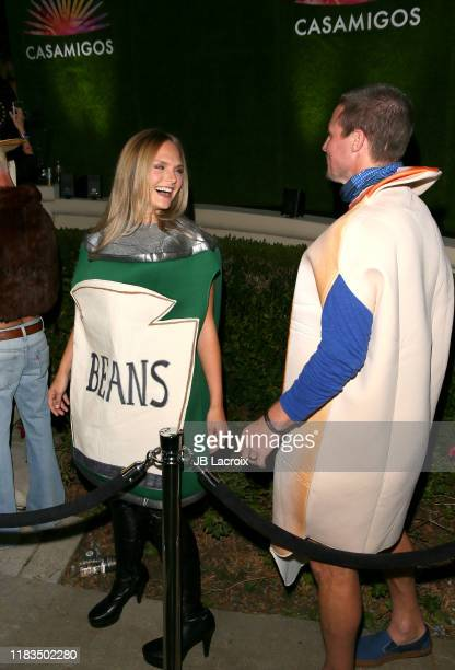 Cassandra Jean and Stephen Amell are seen outside the 2019 Casamigos Halloween Party on October 25 2019 in Beverly Hills California