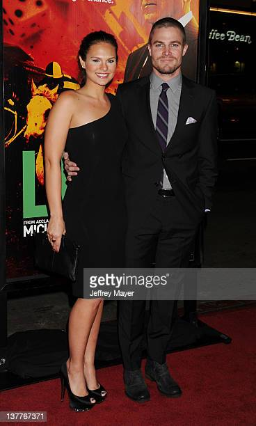 Cassandra Jean and Stephen Amell attend the Los Angeles Premiere of HBO's 'LUCK' at Grauman's Chinese Theatre on January 25, 2012 in Hollywood,...