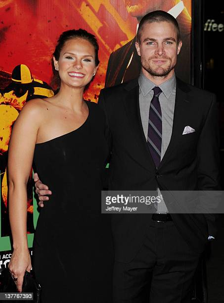 Cassandra Jean and Stephen Amell attend the Los Angeles Premiere of HBO's 'LUCK' at Grauman's Chinese Theatre on January 25 2012 in Hollywood...