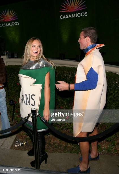 Cassandra Jean and Stephen Amell seen outside the 2019 Casamigos Halloween Party on October 25 2019 in Beverly Hills California