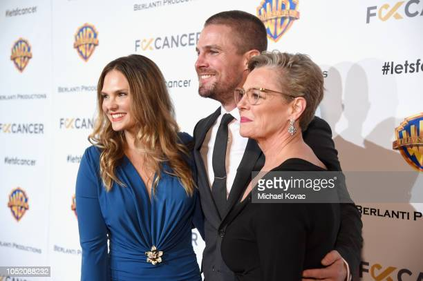 Cassandra Jean, Honoree of the Hero Award, Stephen Amell and Sandra Anne Bolte attend the Barbara Berlanti Heroes Gala Benefitting FCancer at Warner...