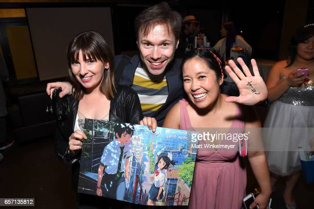 Cassandra Morris Michael Sinterniklaas and Stephanie Sheh attend Funimation Films presents 'Your Name' Theatrical Premiere in Los Angeles CA at...