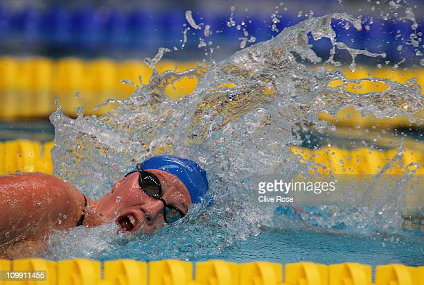 Cassandra Patten of Great Britain competes in the Women's 800m Freestyle heats during day six of the British Swimming Championships at the Manchester...