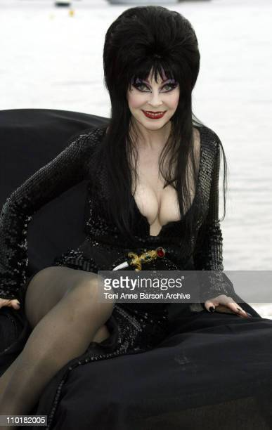 Cassandra Peterson aka Elvira during 2003 Cannes Film Festival - Elvira Photo Call at Rado Beach in Cannes, France.