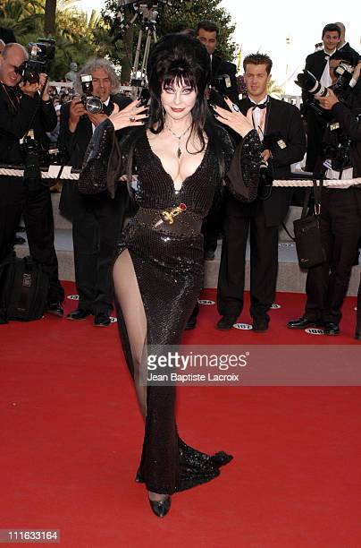 Cassandra Peterson aka Elvira in Chopard jewelry during 2003 Cannes Film Festival Il Cuore Altrove Premiere at Palais des Festivals in Cannes France
