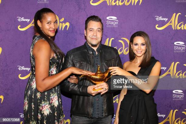 Cassandra Steen Laith Al Deen and Mandy Grace Capristo attend the Aladdin And Friends Charity Event on April 23 2018 in Hamburg Germany