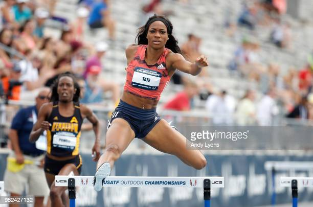 Cassandra Tate clears a hurdle in the semifinals of the Womens 400 Meter Hurdles during day 3 of the 2018 USATF Outdoor Championships at Drake...