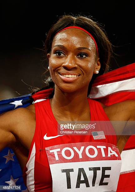 Cassandra Tate of the United States celebrates after winning bronze in the Women's 400 metres hurdles final during day five of the 15th IAAF World...