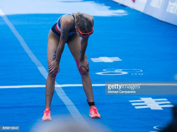 Cassandre	Beaugrand of France after the women's elite race of the Vattenfall World Triathlon Stockholm on August 26 2017 in Stockholm Sweden
