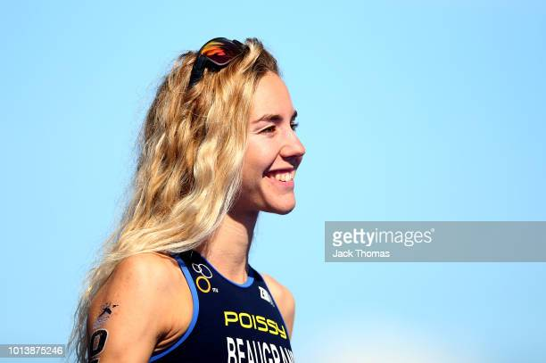 Cassandre Beaugrand of France celebrates after coming third in the women's triathlon on Day eight of the European Championships Glasgow 2018 at...