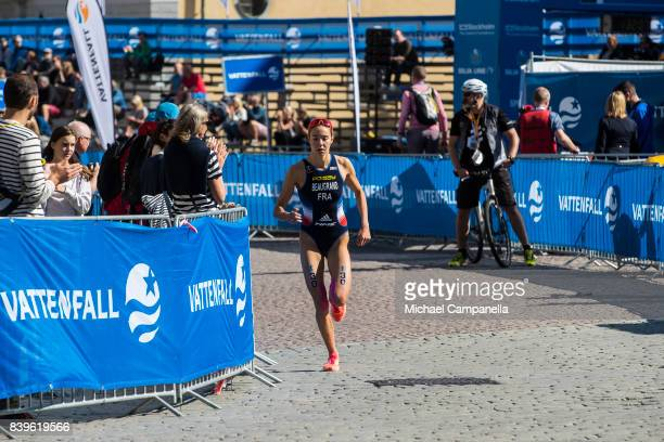 Cassandre Beaugrand of France competes during the women's elite race of the Vattenfall World Triathlon Stockholm on August 26 2017 in Stockholm Sweden