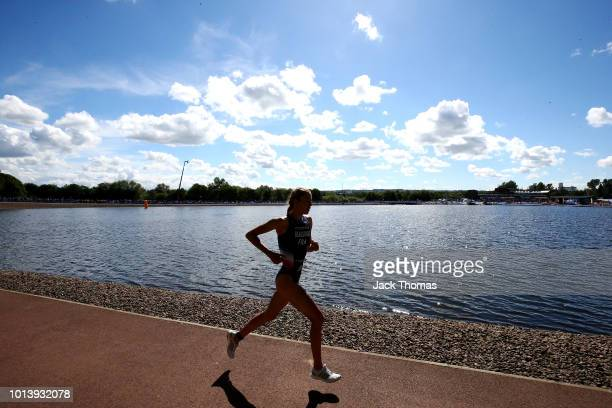 Cassandre Beaugrand of France competes during the Women's Triathlon on Day Eight of the European Championships Glasgow 2018 at Strathclyde Country...