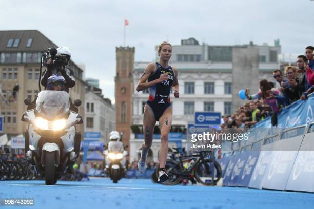 Cassandre Beaugrand of France competes in the run leg during the ITU World Triathlon Elite women sprint race on July 14 2018 in Hamburg Germany