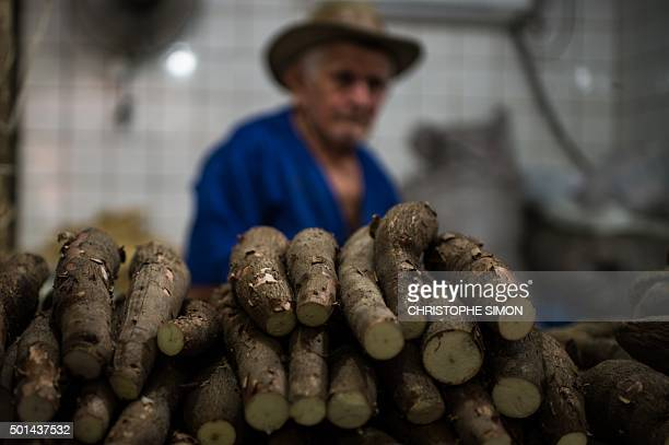 A cassava vendor waits for clients at the fruit market of Manaus on the banks of the Rio Negro river in Amazonia Brazil on December 11 2015 AFP PHOTO...