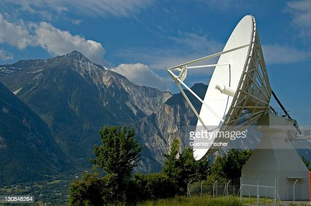 Cassegrain Parabolic antenna with subreflector and feed horn, Satellite Land Earth Station Leuk Valais Switzerland