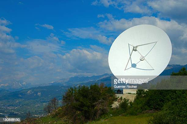 Cassegrain Parabolic antenna with subreflector Satellite Land Earth Station Leuk Valais Switzerland