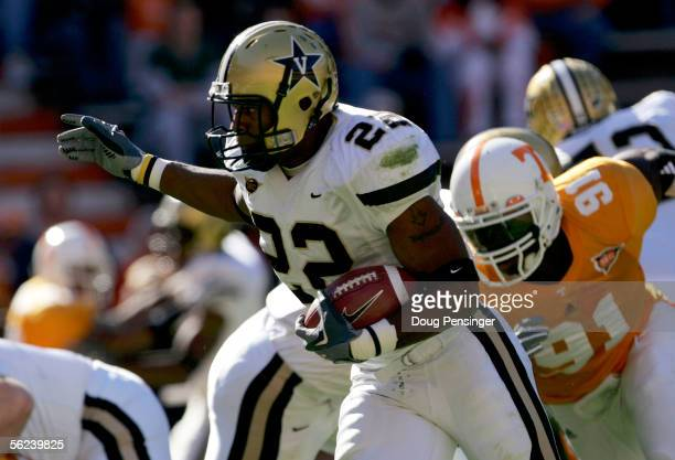 Cassen JacksonGarrison of the Vanderbilt Commodores rushes for a first quarter touchdown against the Tennessee Volunteers as the Commodores defeated...