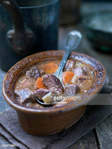 Casserole dish with provence daube of beef and carrots