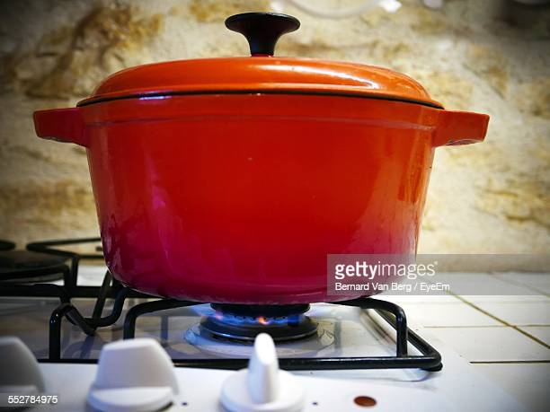 Casserole Pot On Stove In Domestic Kitchen