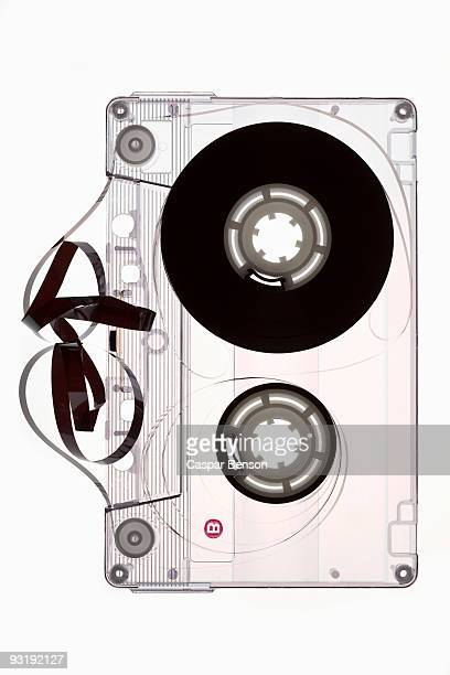A cassette tape unraveled
