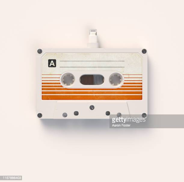 cassette tape with audio plug - image stock pictures, royalty-free photos & images