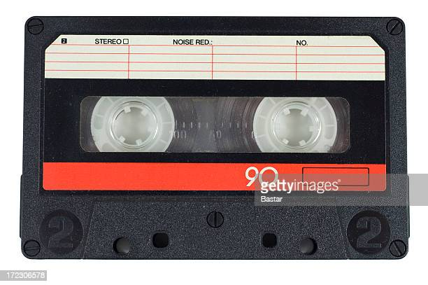 Cassette tape with red on white background