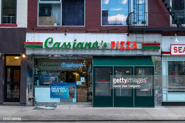 Cassiana's Pizza at 56th Street and 3rd Ave remains the only open restaurant open for business on the block on April 16 in New York City Cassiana's...