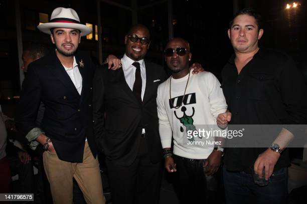 DJ Cassidy Andre Harrell O'Neal McKnight and Adam Lublin attend O'Neal McKnight's birthday celebration at the Eventi Hotel on March 23 2012 in New...