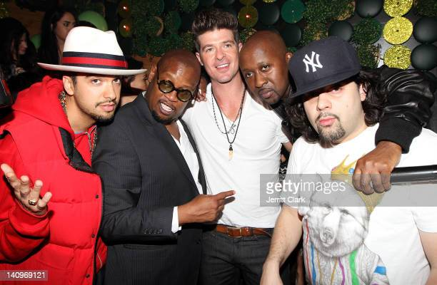 Cassidy, Andre Harrell, Robin Thicke, O'Neal McKnight and DJ Rob Dinero attend Robin Thicke's birthday party hosted by O'Neal McKnight at Greenhouse...