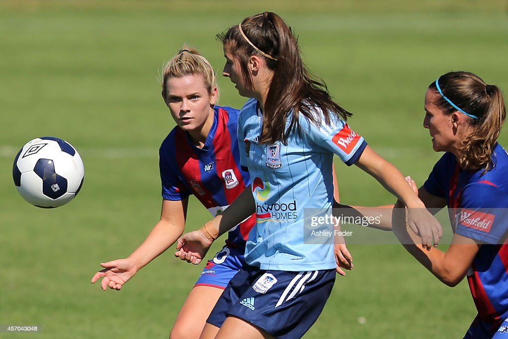 Cassidy Davis of the Jets runs after the ball during the round five W-League match between the Newcastle Jets and Sydney FC at Magic Park on October 11, 2014 in Newcastle, Australia.