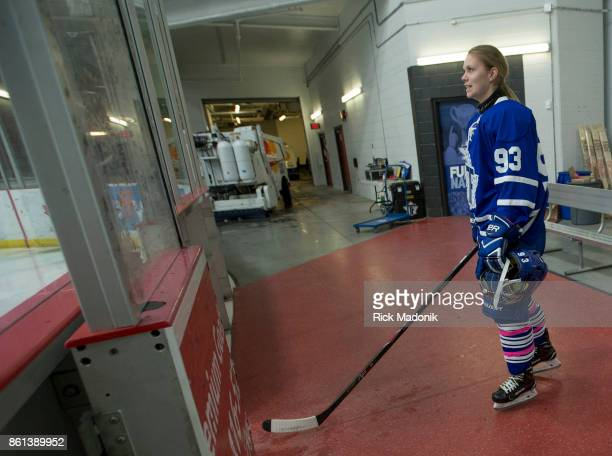 Cassidy Delainey waits for her name during the introductions The Toronto Furies open their Canadian Women's Hockey League schedule against the...