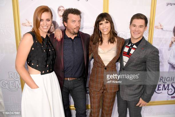 Cassidy Freeman Danny McBride Edi Patterson and Adam DeVine attend HBO's The Righteous Gemstones premiere at the Paramount Theatre on July 25 2019 in...