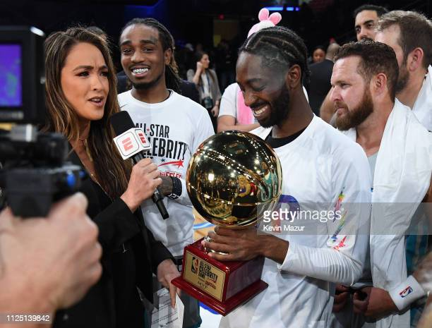 Cassidy Hubbarth interviews MVP Famous Los during the 2019 NBA AllStar Celebrity Game at Bojangles Coliseum on February 16 2019 in Charlotte North...