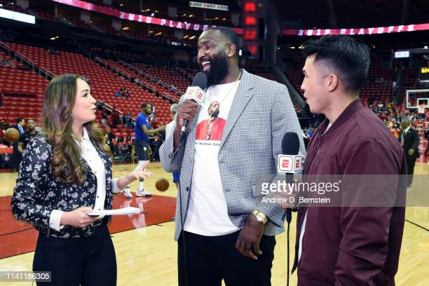 Cassidy Hubbarth Kendrick Perkins and Gary Striewski provide commentary before Game Three of the Western Conference Semifinals between the Golden...