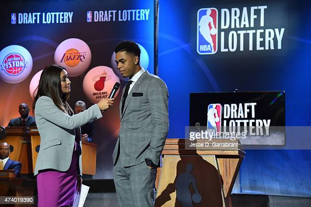 Cassidy Hubbarth of ESPN interviews Draft Prospect D'Angelo Russell during the 2015 NBA Draft Lottery on May 19 2015 at the New York Hilton Midtown...