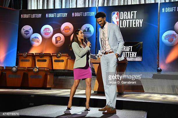 Cassidy Hubbarth of ESPN interviews Draft Prospect Willie CauleyStein during the 2015 NBA Draft Lottery on May 19 2015 at the New York Hilton Midtown...