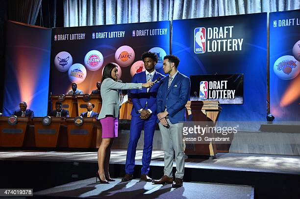 Cassidy Hubbarth of ESPN interviews Draft prospects Justise Winslow and Tyus Jones during the 2015 NBA Draft Lottery reception on May 19 2015 at the...