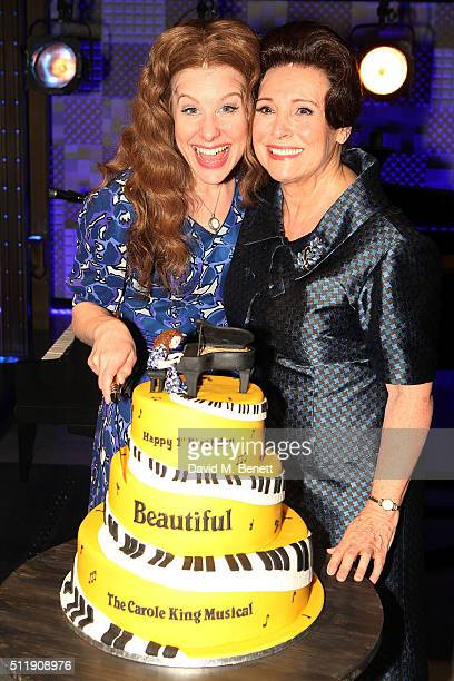 Cassidy Janson and Diane Keen attend the 1st Birthday Gala Performance of Beautiful The Carole King Musical at The Aldwych Theatre on February 23...