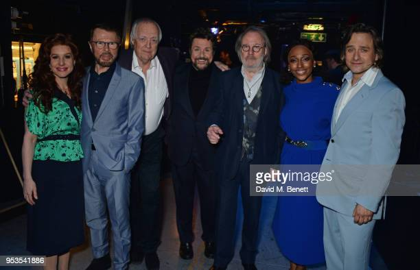 Cassidy Janson Bjorn Ulvaeus Sir Tim Rice Michael Ball Alexandra Burke and Tim Howar pose backstage during the press night performance of 'Chess' at...
